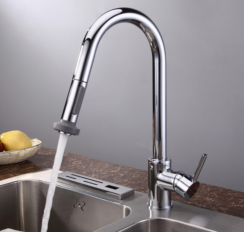Factory direct sale fashion High quality chrome finished brass kitchen sink pull out faucet,tap mixer