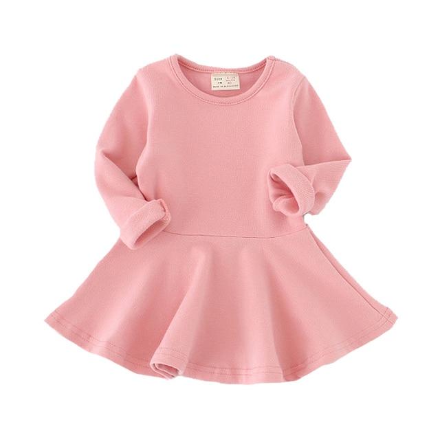 Обувь для девочек платье принцессы осенние платья для маленьких детей для маленьких Обувь для девочек одежда длинный лепесток Sleevel одноцветное детская одежда на 1-4 года