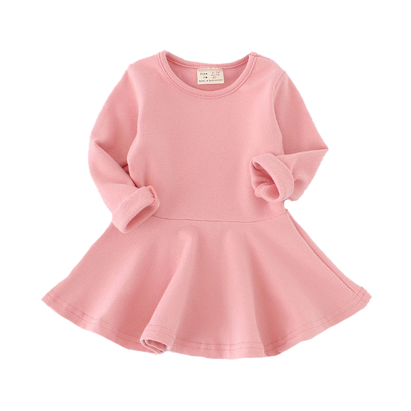 Girls Dress princess Autumn Kids Dresses for Baby Girls clothes Long Petal Sleevel solid Children Clothing 1-4Y