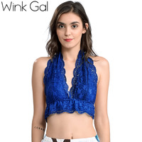 Wink Gal 2017 New Women Sexy Bralette Embroidery Floral Crop Top Backless Sleeveless Top Plunge Female