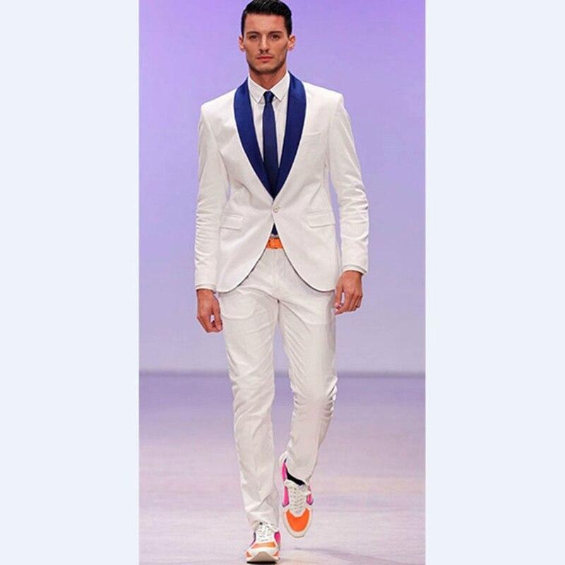 2017 Tailored Made Groomsmen men suit Shawl Royal Blue Groom Tuxedos Ivory Mens Suits Wedding Masculino Vestidos (Jacket+Pants)
