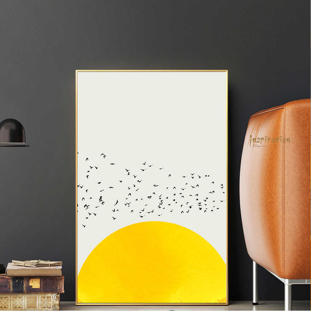 Thousands Of Birds Poster For Kid Room Wall Art White And Yellow Color Animal Canvas Prints Bird Decorative Picture Cuadros