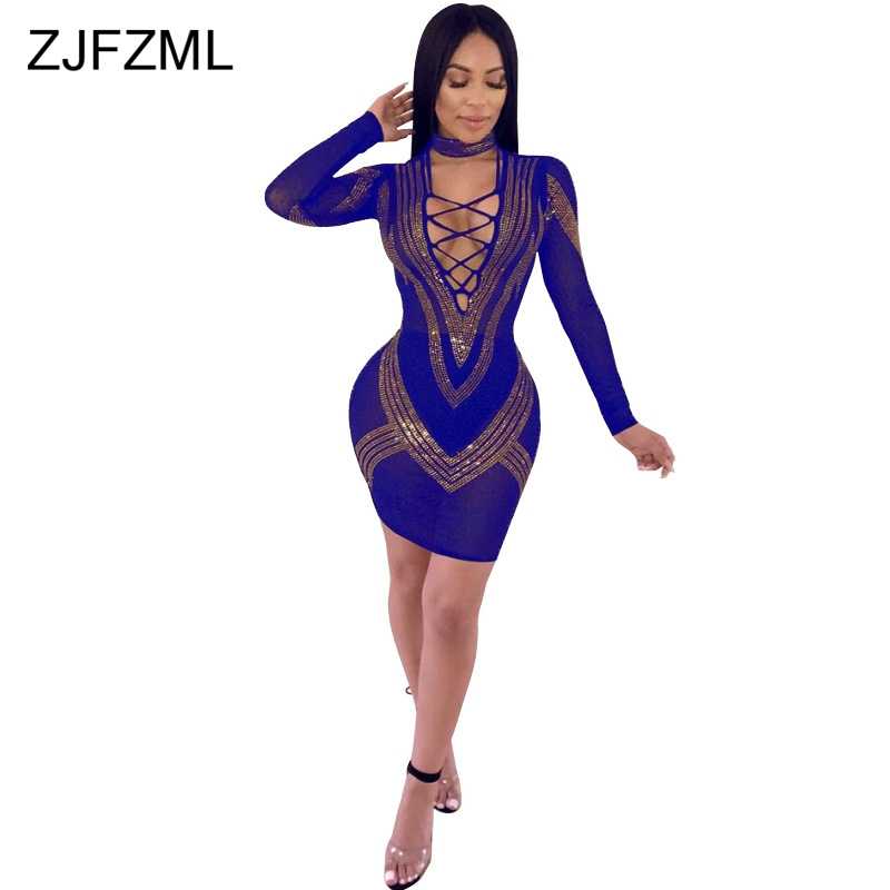 Shiny Rhinestones Sexy Bodycon Dress Women Front Cross Lace Up Hollow Party  Club Dress Elegant V Neck Long Sleeve Pencil Vestido-in Dresses from Women s  ... 168c141bbf45
