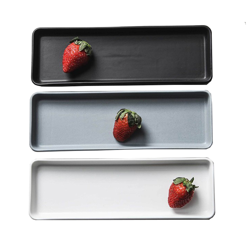 Ceramic Plate Sushi Dish Plate Rectangle Strip Long