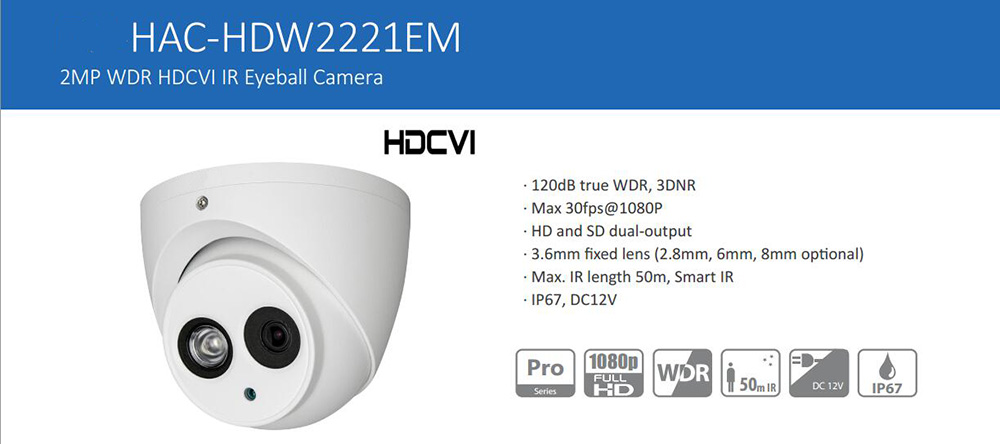 Free Shipping DAHUA Security Camera CCTV 2MP FULL HD WDR HDCVI IR Eyeball Camera IP67 Without Logo HAC-HDW2221EM dh hac hfw2221r z ire6 dahua original hd 1080p infrared night vision security camera ip67 audio cctv camera hac hfw2221r z ire6