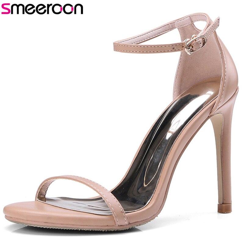 Smeeroon 2018 offre spéciale en cuir véritable femmes sandales simple boucle sexy talons hauts chaussures femme couverture talon élégant parti chaussures