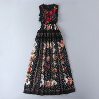 European and American women's wear 2017 The new winter sleeveless Flowers embroidery wave dot printing Long dress