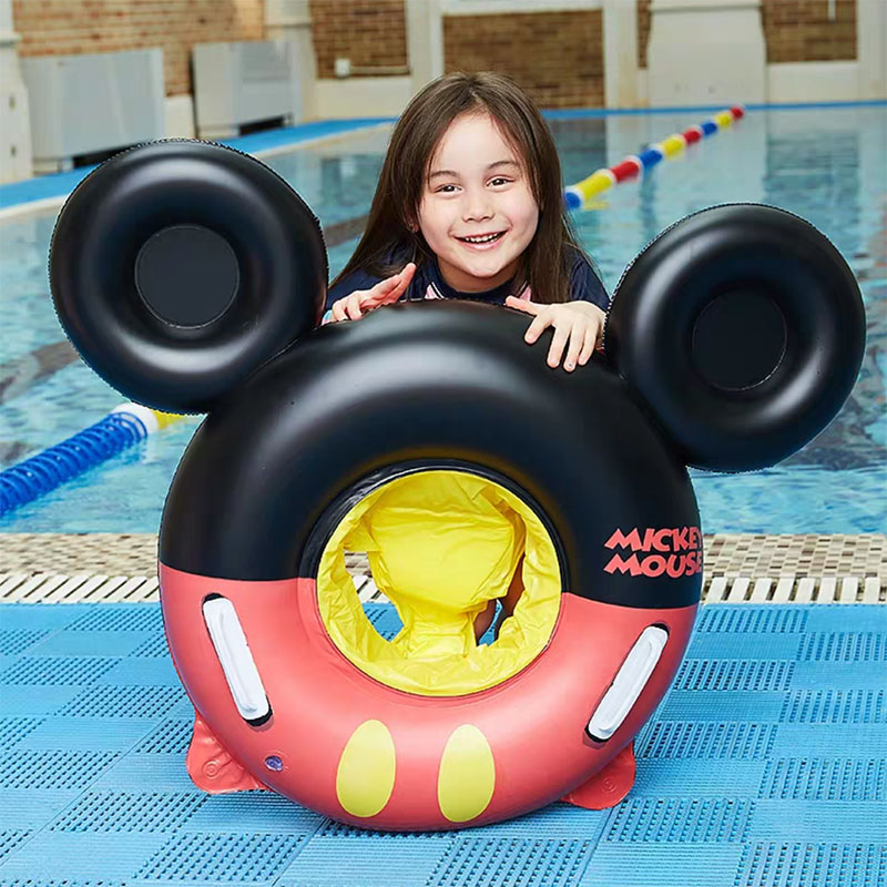 0 4 Years Kids Cartoon Swimming Ring ChildGifts Baby Inflatable Pool Summer Fun Float Ring Kids Pool Toy Float With Handle in Swimming Rings from Sports Entertainment