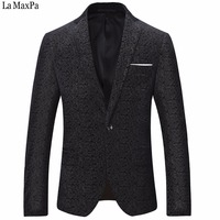 La MaxPa Fashion Men Suit Blazers Jacket Male Singer Casual Slim Fit Spring Autumn Party Wedding
