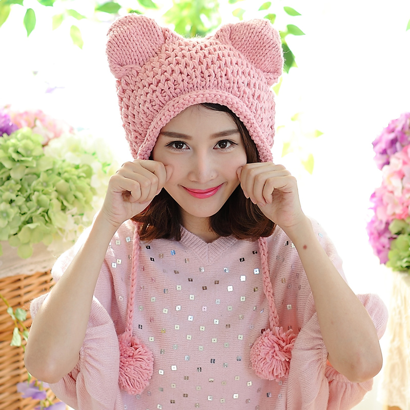 Fashion 2016 Cat Ear New Women Winter Hat Handmade Knitted Beanie Ear Muff Hat Cap