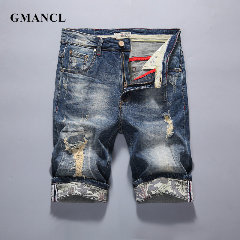 New Fashion Men casual Ripped   Short   Jeans Brand Clothing Bermuda Summer 98% Cotton   Shorts   Breathable Knee Length Denim   Shorts