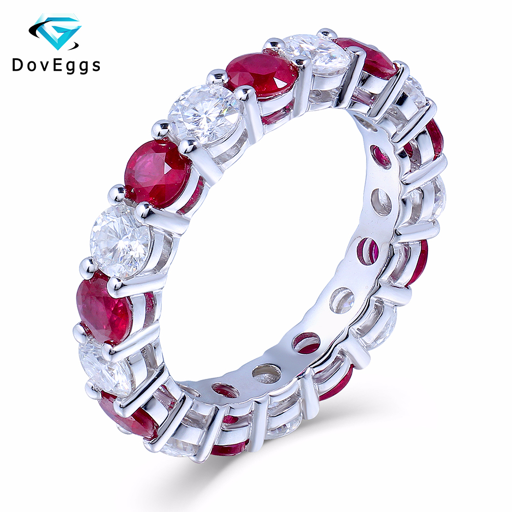 DovEggs Genuine 14K 585 White Gold 3.5mm F Color Lab Grown Moissanite Diamond Engagement Ring Wedding Band With Natural Rubies
