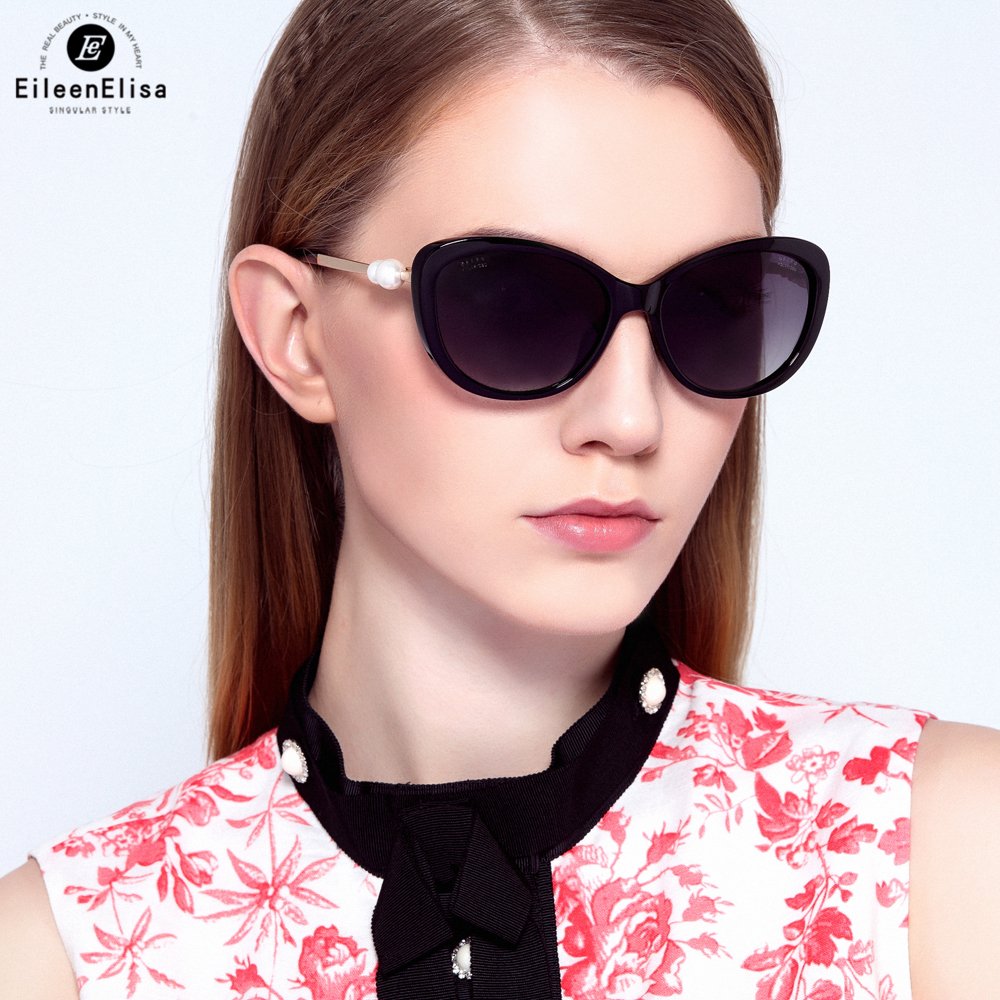 Classic Simple Cat Eye Sunglasses Women Luxury Metal Frame Sun Glasses Pearl Polarized Shades UV400