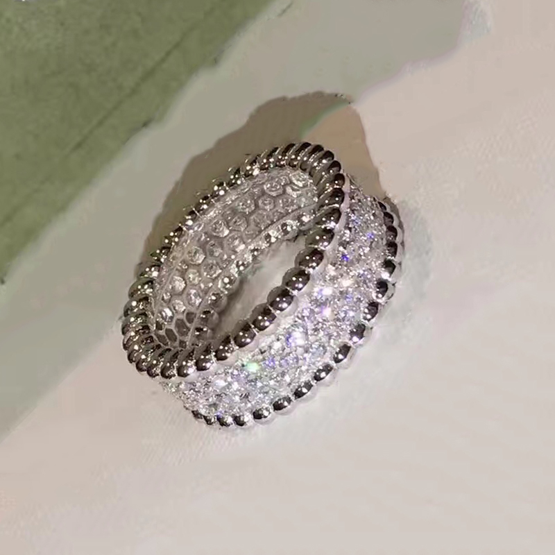 Brand Pure 925 Sterling Silver Jewelry For Women Wedding Rings Full Stone lover Bead Jewelry Big Wide Rings Top Quality 678 # cropped wide sleeve top