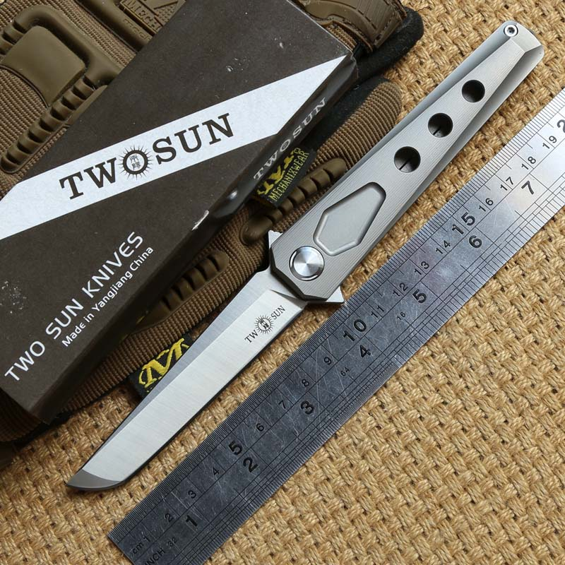 TWO SUN TS44 Tactical Flipper ball brearing folding knife D2 blade titanium camping hunt Pocket knives outdoor Survival EDC Tool цены