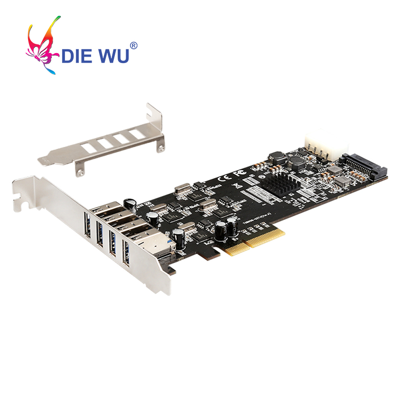 <font><b>PCI</b></font> Express USB <font><b>adapter</b></font> card <font><b>PCIe</b></font> 4X <font><b>to</b></font> 4 channel Full speed USB3.0 Expansion card for NEC for PC Computer Desktop TXB058 image