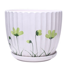 2 Pcs/Set Ceramic Flower pots with tray Wholesale,Creative Hand-painted Succulents Pots indoor Balcony Green Plant