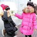 2016 зимой Дети длинные участки 90% утка пуховик дети пуховик костюм для девочек зимний Надьямарош воротник верхней одежды пальто