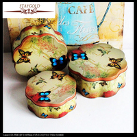 Wonderland Butterfly Yellow Bird Set Of Three Plum Blossom Shaped Box Tin Box 3 Pcs Set