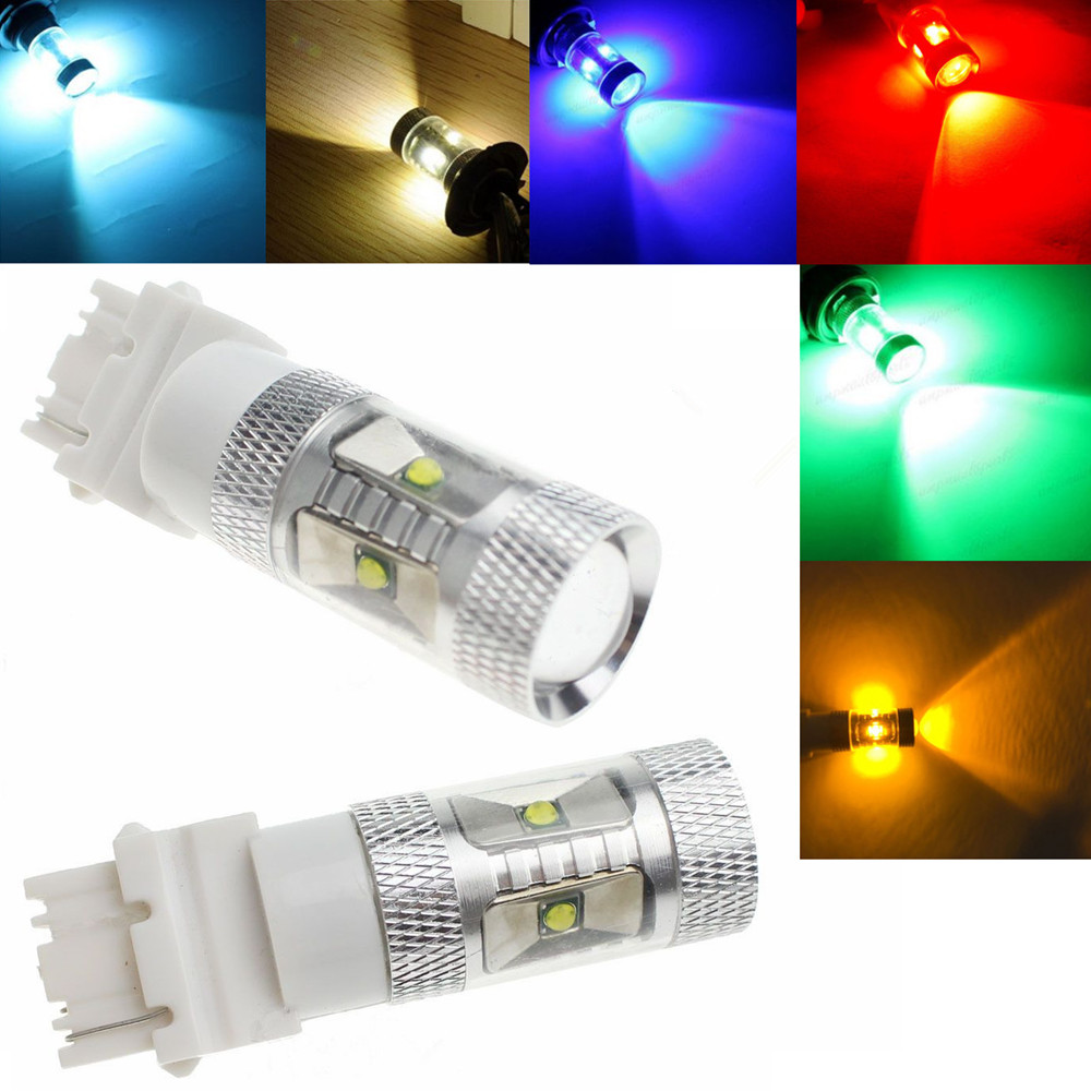 CYAN SOIL BAY 2x 30W White High Power LED Tail Brake Reverse Bulb 3156 4057 Red Amber Yellow Green Ice Blue