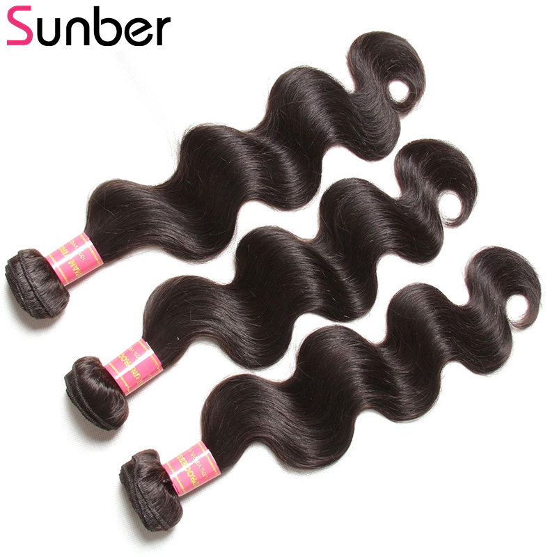 SUNBER HAIR Brasilian Body Wave 3pcs / lot 100% Remy Hair Weave - Mänskligt hår (svart) - Foto 2