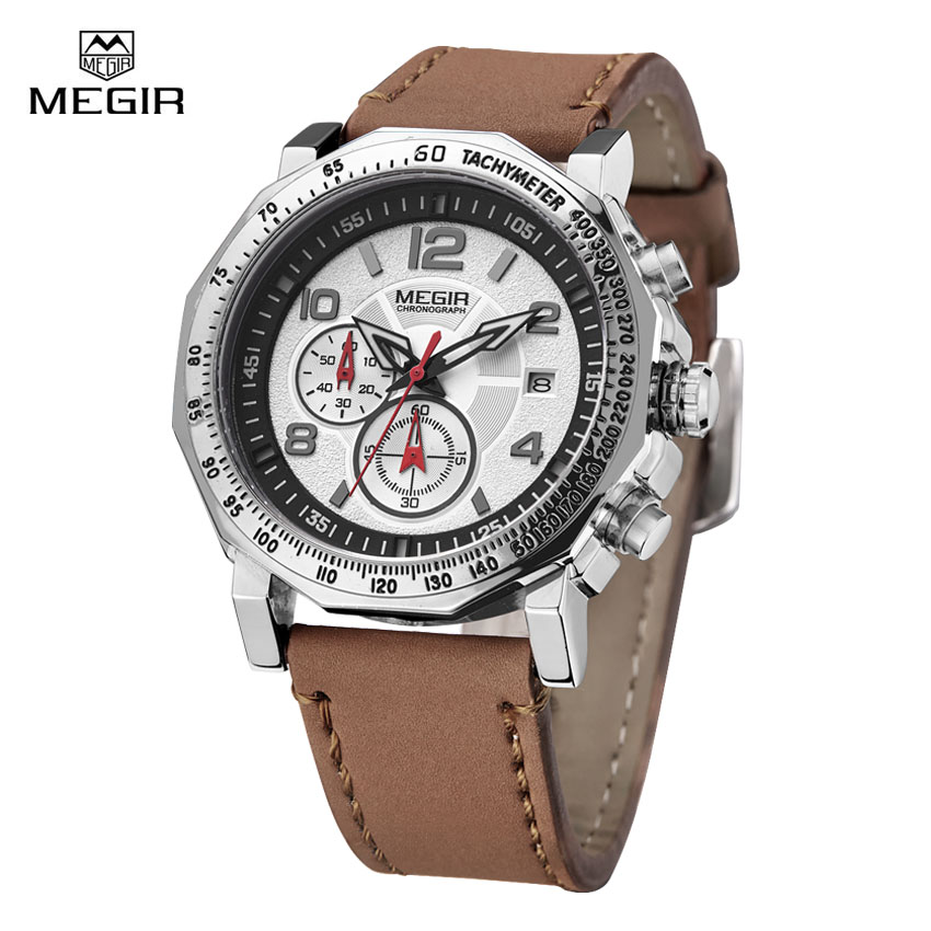 Megir Mens Watches Luxury Quartz Watch Men Famous Brand Man Big Dial Sports Style Waterproof Wristwatches Relogio Masculino famous brand big dial watch for men quartz big face watches rubber band 52mm rose gold men s wristwatch luxury mens relojios new