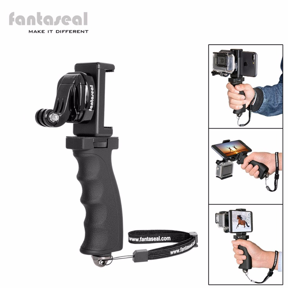 Fantaseal Action Camera Grip Mount w/ Cell Phone Clip for GoPro Grip Stabilizer Xiaomi Yi 4k SJCAM Eken h9 Garmin virb Holder ヘッドスパ 用 シャンプー 台