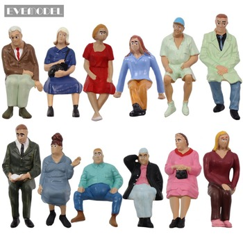 12pcs Model Trains 1:25 Scale G Scale Well-Painted Seated Figures People Park Scenery Miniature Decoration P2513