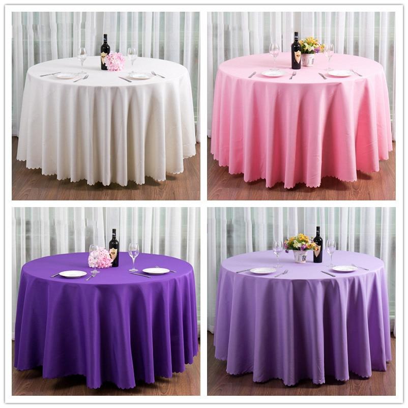 Simple Beach Wedding Decoration Soild Round Table Cloth Pink Purple Violet White Anniversary Bomboniere Matrimonio Party Setting