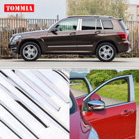 TOMMIA Full Window Middle Pillar Molding Sill Trim Chromium Styling Strips Stainless Steel For Mercedes Benz GLK 2012 2015