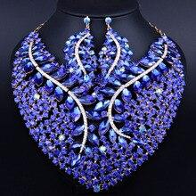 Regalo nupcial Nigeriano Boda Perlas Africanas Joyería Conjunto Moda Dubai Conjuntos de Joyas de Cristal Diseño de Vestuario Collar Grande