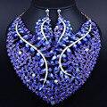 Presente nupcial Do Casamento Nigeriano Beads Africanos Set Jóias Moda Dubai Conjuntos De Jóias de Cristal Projeto Grande Colar de Traje
