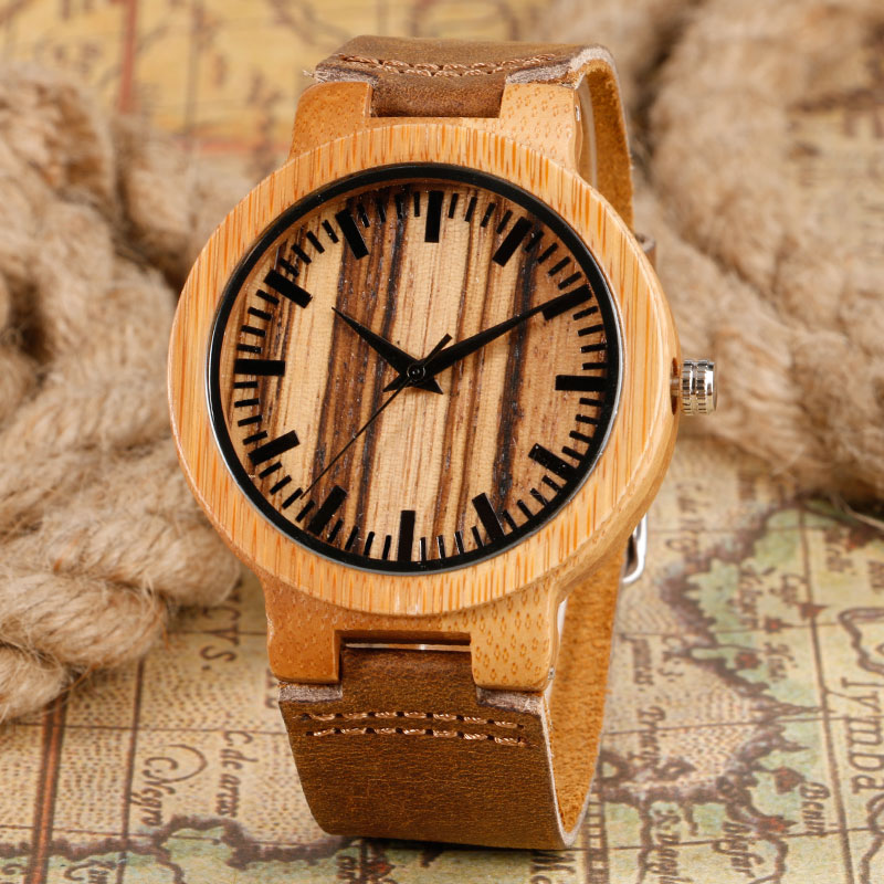 Hot Selling Fashion Wood Watch Nature Bamboo Wrist Watch With Genuine Leather Bracelet Quartz Watches Men Clock Women Gift nature wood simple men bamboo watch cool casual genuine leather band strap wrist watches quartz women gift relogio masculino