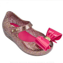 Melissa 2019 New Big Bow Original Jelly Sandals For Girls Cute Baby Shoes Beach Water