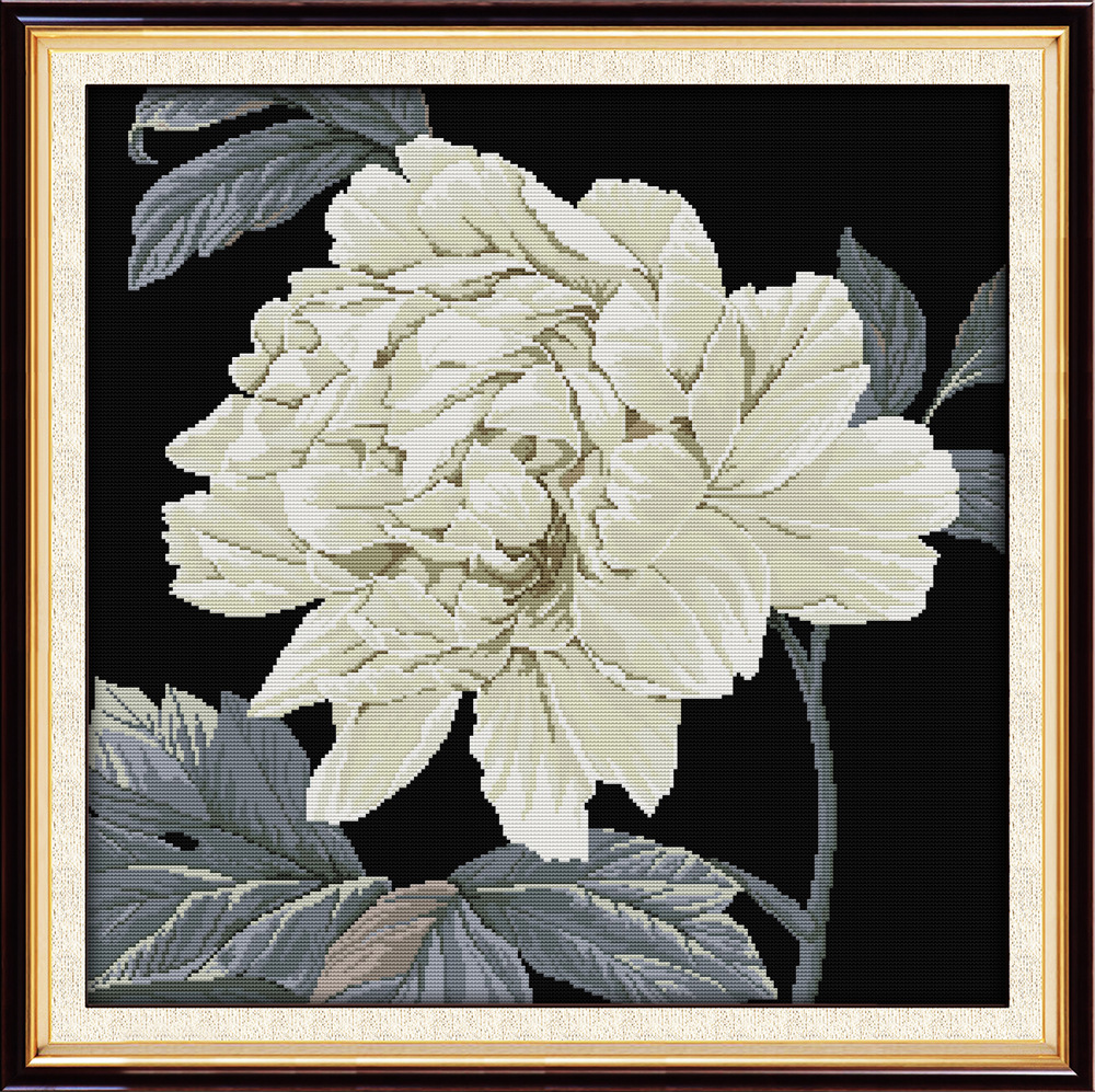 Joy Sunday Cross Stitch Flowers Patterns Kits Embroidery Needlework Sets-Beautiful Peony(Black base) Pattern image