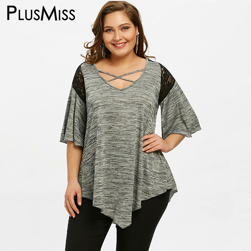 Plusmiss plus size 5xl asymmetrical bell flare sleeve for Girls shirts size 8