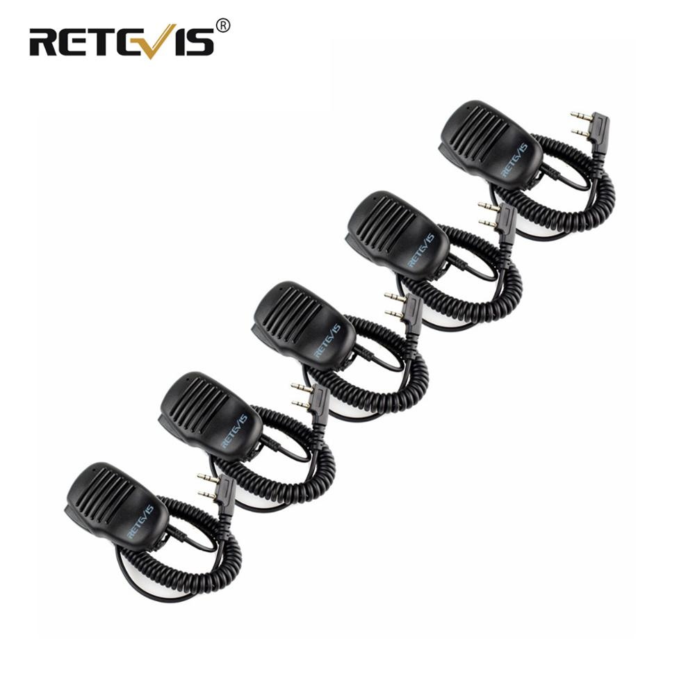 5pcs Walkie Talkie Speaker Microphone 2Pin PTT Mic 3.5mm Earphone Jack For Kenwood Baofeng UV-5R UV5R Retevis RT5R H777 RT22 RT3
