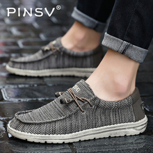 PINSV Mens Vintage Casual Shoes Breathable Mesh Men Sneakers Flats Lace up Comfortable Summer