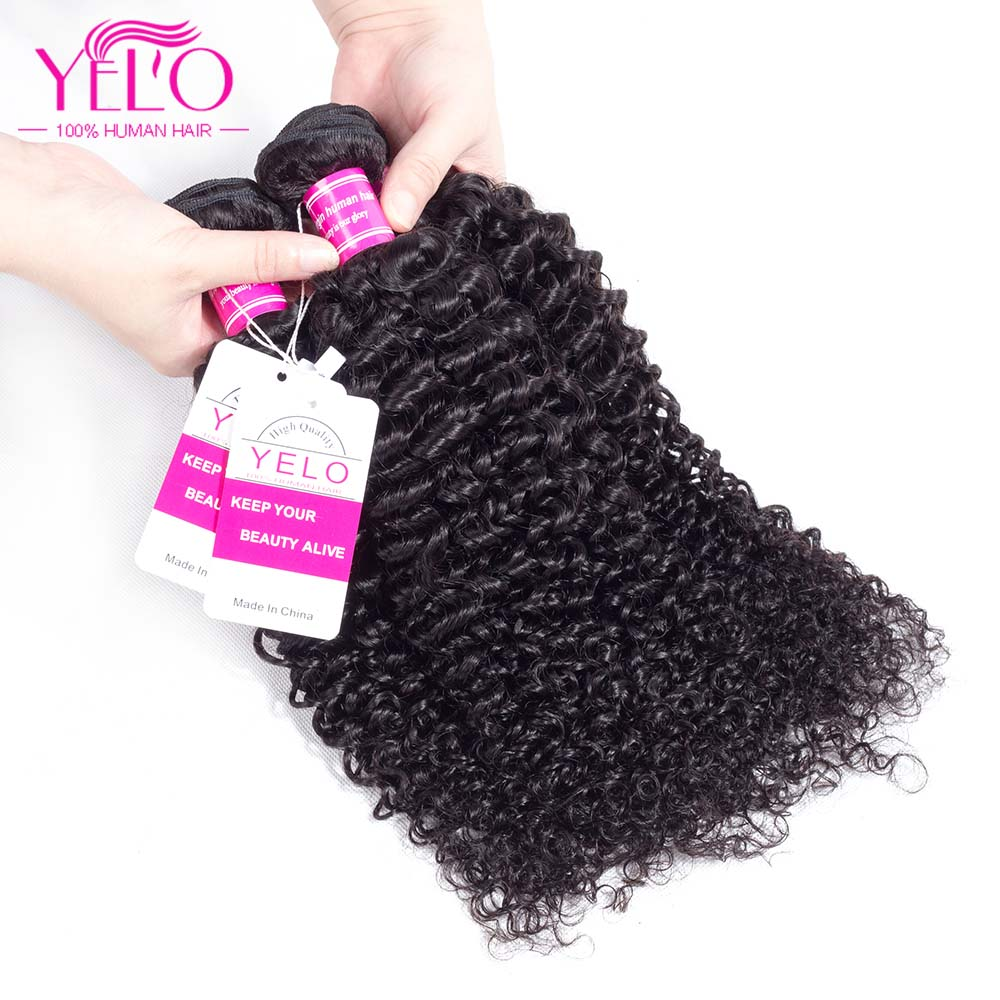 Malaysian Kinky Curly Hair Extensions Remy Hair 10-26 Inch 100% Human Hair Weave Bundles 1PCS Can Buy 3 or 4 Pieces 1B Yelo Hair