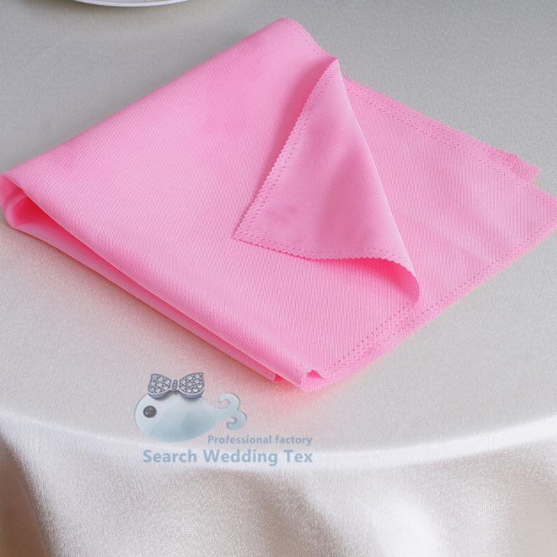 12pcs 45*45cm Dobule Stitched Edge Polyester Pink Table Napkin For Wedding Party Event Decoration