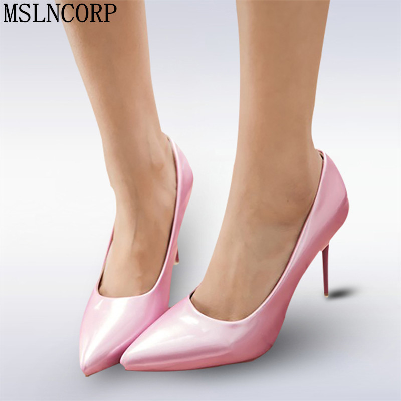 plus size 34-48 Woman High Heels Pumps Women spring Pointed Toe Patent Leather Slip On Party Wedding Shoes Thin Heels Stilettos newest flock blade heels shoes 2018 pointed toe slip on women platform pumps sexy metal heels wedding party dress shoes