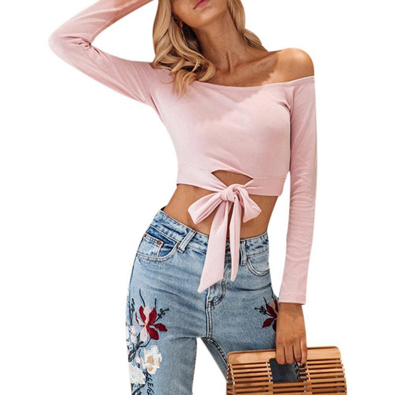 New 2018 Summer Off Shoulder T-Shirt Women Long Sleeve Lace Up Tee Tops Female Fashion Solid Hollow Out Crop Top Pink Red Y2