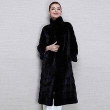 Женское зимнее пальто с воротником-стойкой, длинная куртка с кроликом