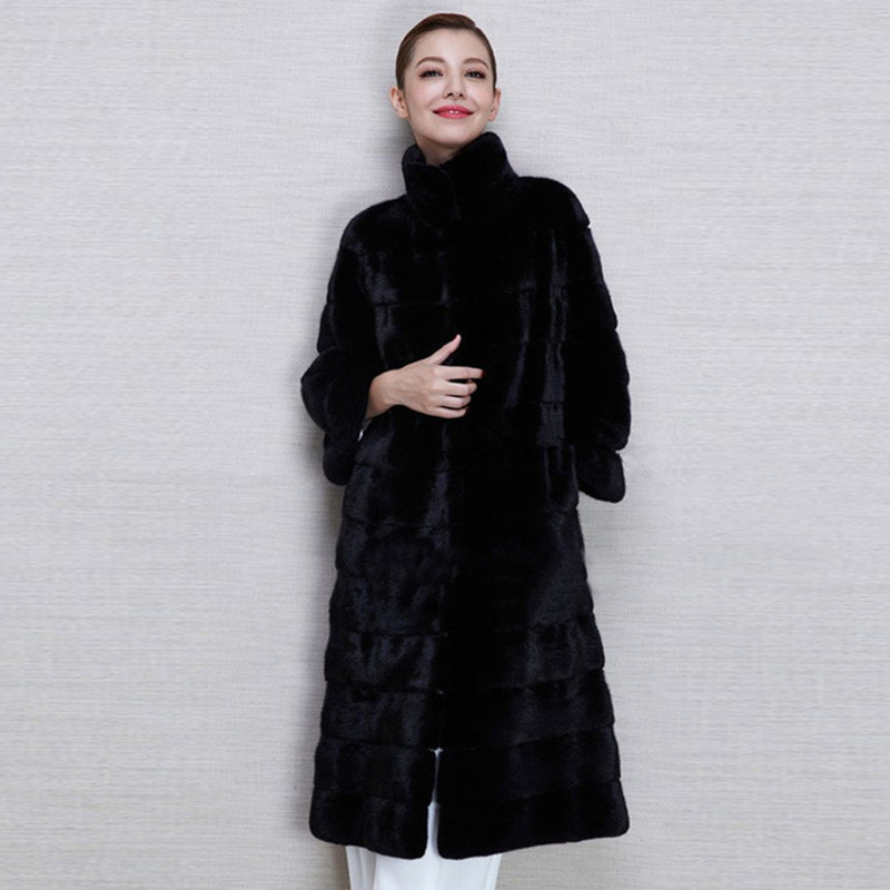 Women's Winter Coat Mandarin Collar Coat Rabbit Long Paragraph Long Jacket Free Shipping