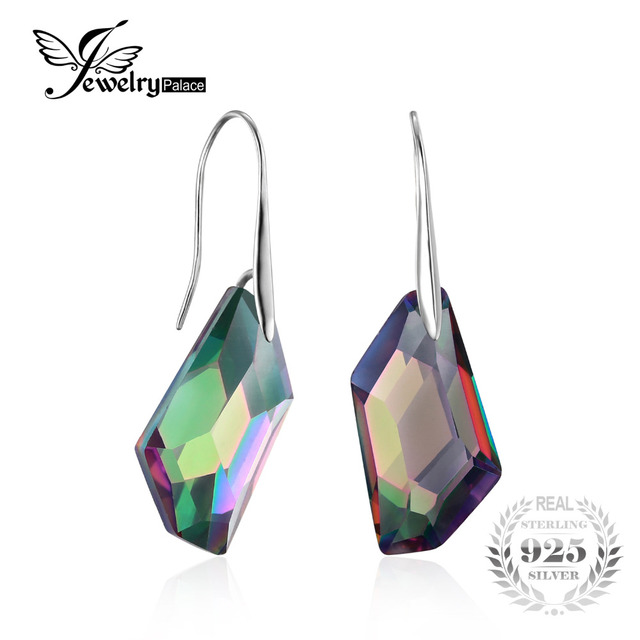 Fancy Cut 27ct Genuine Gem Stone Natural Rainbow Fire Mystic Topaz Dangle Earrings Drop Real Solid Pure 925 Sterling Silver