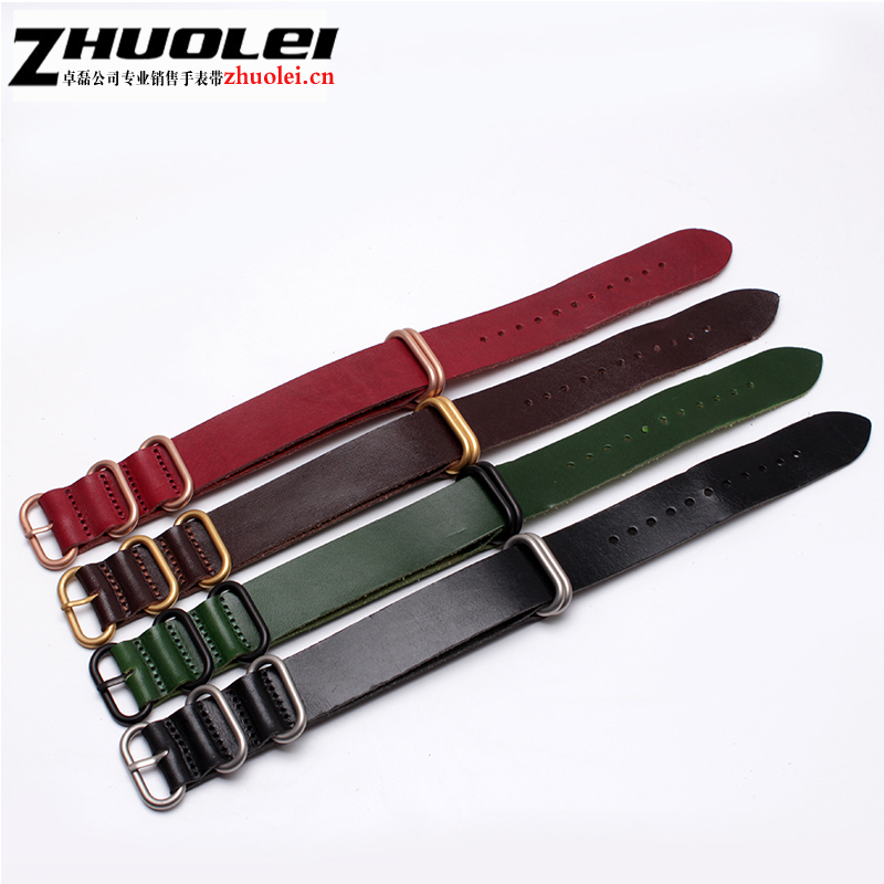 High Quality for Zulu Watchband polished Genuine Leather NATO Watch Straps for Military Watch 20mm 22mm 24mm 26mm Brush Buckle hot selling high quality new arrival genuine leather watchband carbon fiber straps 22mm with stainless steel buckle
