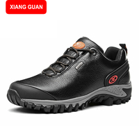 XIANG GUAN Man Boots Genuine Leather Flat Martin Ankle Boots Motorcycle Boots Autumn Shoes Man Winter