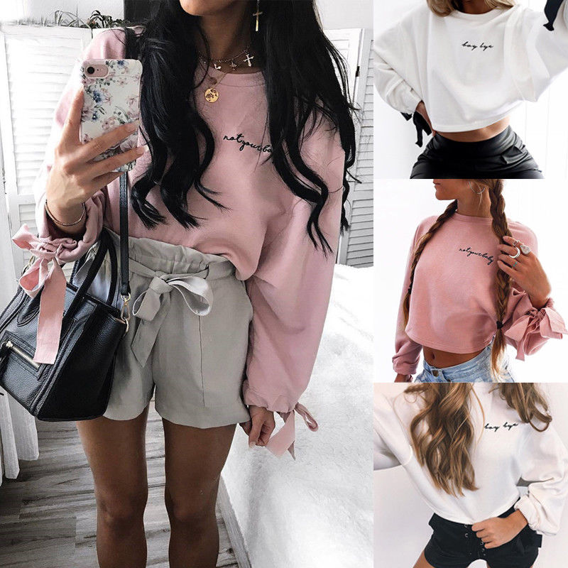 Hirigin New Womens Casual Long Sleeve Crop Top Hoodie Casual Long Sleeve Sweatshirts Jumper Pullover Spring New Tops Uk Spain Women's Clothing