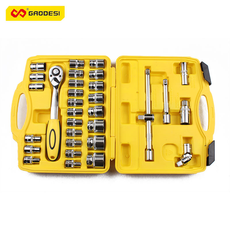 New 32pcs Automobile Motorcycle Repair Tool kit Socket Ratchet torque Wrench Set Sleeve Universal Jointer Extension Bar Hardware  цены