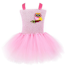 Pink Baby Kids Girl Xmas Owl Cartoon Pattern Dress Knee Length Teen Dresses Party Tutu Dress Girl for 12 Halloween Kids Clothing posh dream mickey cartoon kids girl dress for cosplay pink and hot pink dot minnie girl tutu dresses flower girl cosplay dress